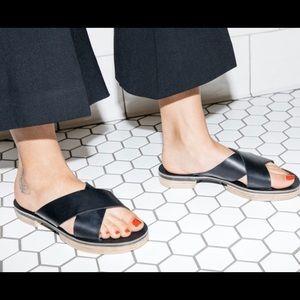Freda Salvador Black Leather Slip Ons
